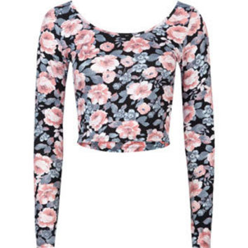 FULL TILT Floral Womens Fitted Crop Top 210672149 | Knit Tops & Tees | Tillys.com