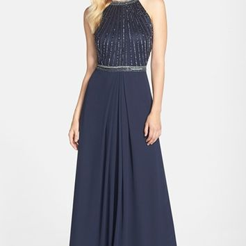 Women's Aidan Mattox Beaded Halter Gown,