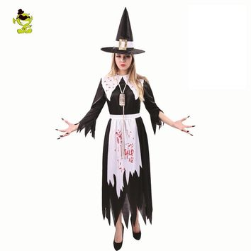 2018 New Adult Salem Witch Costume Adult's Women's Witch Costume Black Fancy Dress Halloween Cosplay Costume Outfits