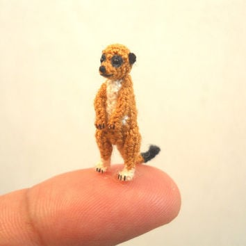 Micro Mini Meerkat - Miniature Crochet Amigurumi  Animal - Made To Order