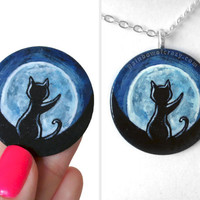 Black Cat Necklace, Full Moon Pendant, Hand Painted Wood Jewelry, Cat Lover, Memorial Gift, Animal Art, Pet Painting, Gift for Her