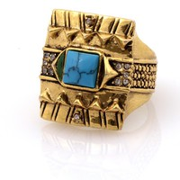 House of Harlow 1960 Jewelry Cushion Cocktail Ring with Turquoise