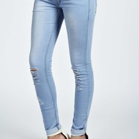 Echo Open Knee Bleach Wash Skinny Jeans