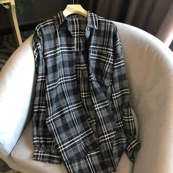 Women Clothes Edgy Fashion All-match Simple Cool Tartan Long Sleeve Loose Buttons Wool Plaid Shirt