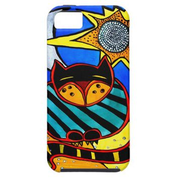 Sun And Moon Colorful Cat Design iPhone SE/5/5s Case