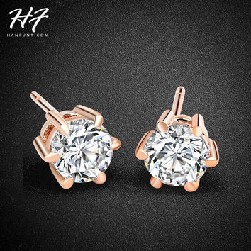 RA Six Claws 5mm 0.5ct Stellux CZ Diamond 18K Real Gold Plated Stud Earrings Crystal Wedding Jewelry For Women brincos E036 E035
