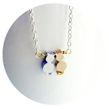 Cats in Love Necklace Golden & silver tone cute cats on silver tone Chain, Bridal Jewelry for Weddings, Gold Weddings, Bride-to-be Gift Idea