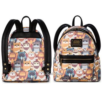 Licensed cool Disney Store Star Wars Ewok Mini Backpack by Loungefly Faux Leather Side Pockets