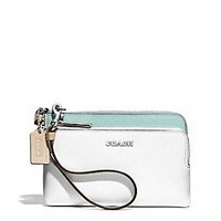 DOUBLE L-ZIP WRISTLET IN COLORBLOCK MIXED LEATHER