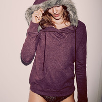 Faux Fox Fur Hooded Long Sleeved Sweater