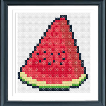 Watermelon, Cross Stitch Pattern, Instant Download, Summer Fruit Watermelon, Nursery Decor, Kitchen Health, Gift Cute DIY Embroidery