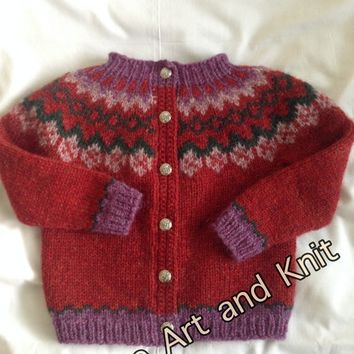Icelandic sweater with buttons, 3-4 year old, sheep wool, Icelandic wool, wool sweater, children clothing, cardigan, kids fall, warm sweater