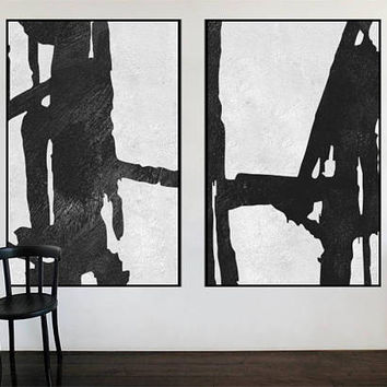 2 pieces Large original abstract acrylic painting, Contemporary Art, Handpainted Large wall Art decor, Black and white art, large canvas art