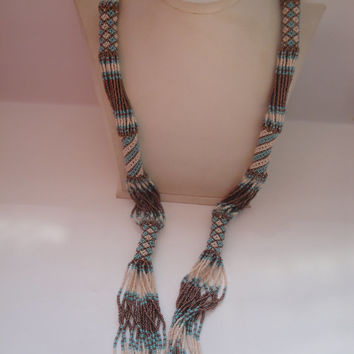 MOTHERS DAY SALE African Zulu beaded rope necklace in blue, brown and cream