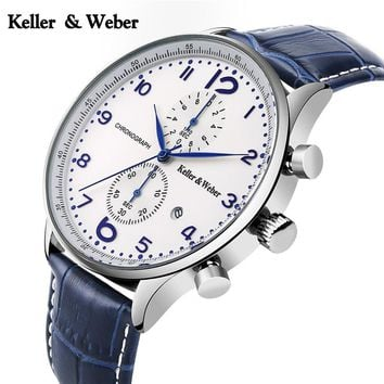 2017 Chronograph Mens Watch New Top Keller & Weber Luxury Military Sport 30ATM Quartz-watch Genuine Leather Date Clock Male hour