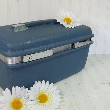 Retro Denim Blue Train Case - Vintage Samsonite Travel Carry On - Classic Saturn Plastic Tote with Tray