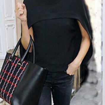 Black Long Sleeve Cape Asymmetrical Top