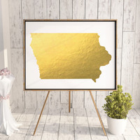 Iowa Art Print State Art Iowa Gold Foil Print Silver Foil Iowa Printable Usa Map Print Copper Foil Gold Wall Art Real Gold Foil Metallic Art
