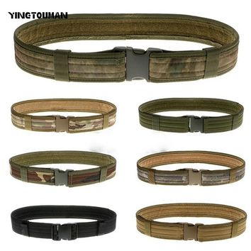 YINGTOUMAN  Army Belts Tactical Combat Gear Utility Nylon Heavy Duty Belt Hunting Adjustable Waistband  Army Fans Rescue Belts