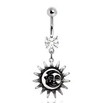 Vintage Sun & Moon Navel Ring