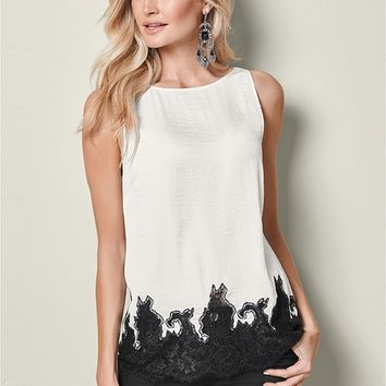 Lace Trim Blouse in Off White | VENUS