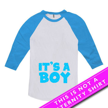 Pregnancy Announcement Shirt Pregnancy Reveal Baby Announcement It's A Boy New Baby Boy Gift American Apparel Unisex Raglan MAT-659