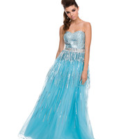 (PRE-ORDER) 2014 Prom Dresses - Aqua Sequin & Tulle Strapless Gown