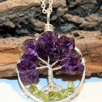 Sterling Silver  Petite Tree Of Life  Amethyst and Peridot Necklace On Sterling Chain Wire Wrapped Pendant Semi Precious Gemstone Jewelry