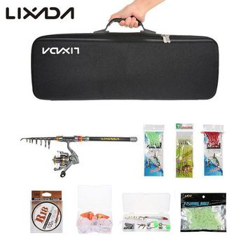 DCCKUH3 Lixada 2.1/2.4/2.7/3M Telescopic Fishing Rod Reel Combo Full Kit Spinning Reel Pole Set with  Fish Line Lures Hooks Bag Case