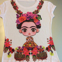 Frida Kahlo Short Sleeve Graphic Tee Shirt - Lazo de Flores