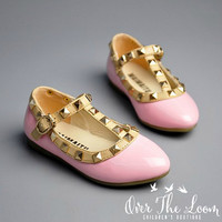 Rocker Girls Studded T-strap Shoes in Pink
