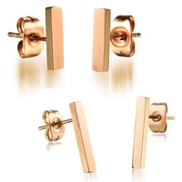 Lady's rose gold titanium steel ear ornaments Smooth square bar small ear nails Long style-Size 10mm