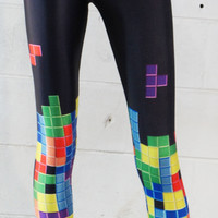 Sexy Video Game Print Tetris Falling Blocks Silky Stretchy Tight Leggings New US