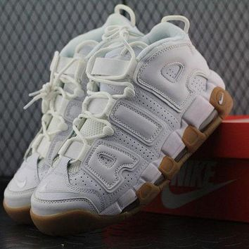DCCKBE6 Nike Air More Uptempo White Gum 414962-103 For Women Men Running Sport Sneakers White