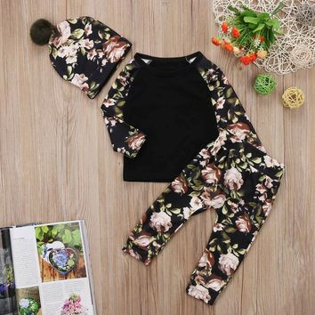 Newborn Baby Girls Floral Clothes Tops T Shirts Long Pants Pom Pom Hat Outfits P