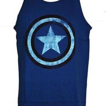 Captain America Distressed Shield Logo  Marvel Adult Tank Top