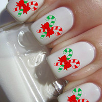 Christmas Candy Cane Nail decal Tattoos