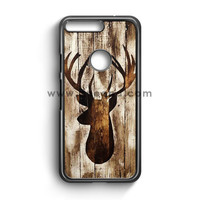 Deer Head Silhouette On Distressed Pallet Wood Google Pixel Case  | Aneend.com