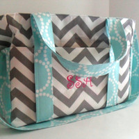 Monogrammed Custom Made Extra Large Diaper bag Made of Chevron Fabric / 10 Pockets