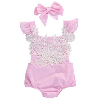 Newborn Infant Baby Girls Pink Lace Floral Romper Backless Jumpsuit Outfits Set +headband Sunsuit 0-18M