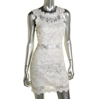 Topshop Womens Juniors Lace Scalloped Cocktail Dress