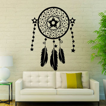 Dream Catcher Wall Decals Indian Amulet Night Stars Design Feathers Home Interior Vinyl Decal Sticker Art Mural Bedroom Wall Decor KG391