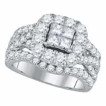 14kt White Gold Women's Princess Diamond Cluster Halo Twist Bridal Wedding Engagement Ring 2-1-2 Cttw - FREE Shipping (USA/CAN)