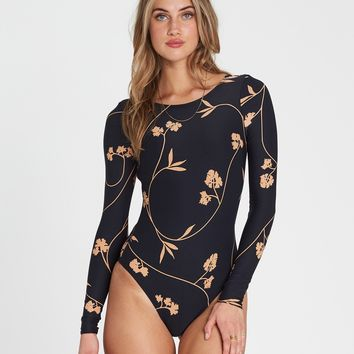 Billabong Women's Sweet Roots Bodysuit |Black Pebble