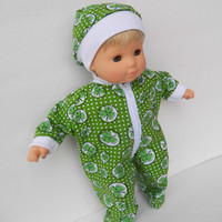 """Bitty Baby Clothes pajamas handmade for 15""""  or boy Twin or Girl Doll green white shamrock irish st. patrick's day sleeper pjs & hat cap 2pc"""