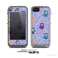 The Light Purple Fat Cats Skin for the Apple iPhone 5c LifeProof Case