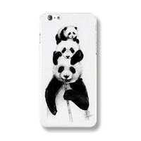"""Transparent Edge Fashion Beautiful Panda Art Painting Black & White Hard PC Mobile Phone Cover Case Shell For Apple iPhone 6 6s 4.7"""" Inch"""