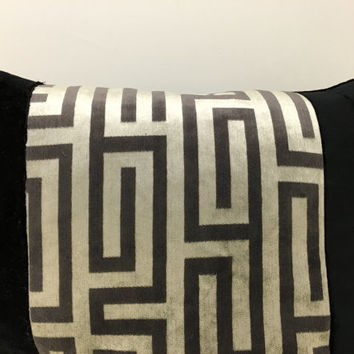Black Velvet Pillow Cover,Robert Allen Pillow,Greek Key Pillow,Grey Pillow,Black Pillow,Decorative Pillows,Gray Velvet Throw Cushion Covers