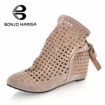 Big Size 34-43 Gladiator Sandals for Women Inside Wedges Round Toe Platform Cutout San