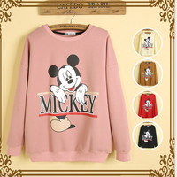 Mickey sets leisure round collar loose Pink